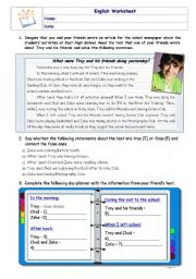 English Worksheet: Past Continuous -High School Musical