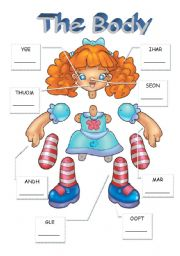 English worksheet: Label the doll and make a puppet