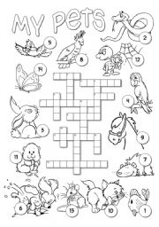 English Worksheet: Pets Crossword
