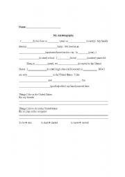 English Worksheets: My Autobiography (Newcomers)