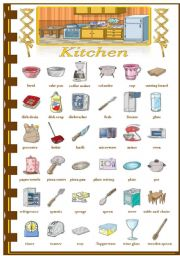 English Worksheet: Rooms in the house - Kitchen