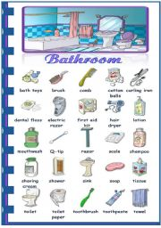 English Worksheet: Rooms in the house - bathroom