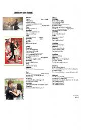 English Worksheet: High School Musical 3 -  Can I have this dance?