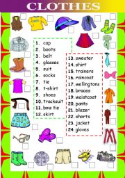 English Worksheets: Clothes (matching words and pictures)
