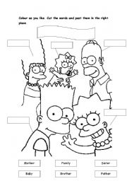 English teaching worksheets: The simpsons family