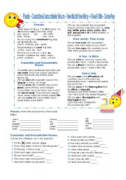 English Worksheet: COUNTABLES & UNCOUNTABLES, some-any, a few-a little, etc.