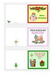 English Worksheet: Christmas cards with messages  1-5