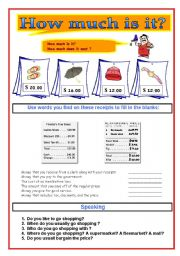 English Worksheets: 3-Skill Worksheet  :  Money and Prices