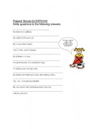 English Worksheets: Ask me questions