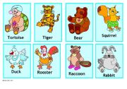English Worksheets: animal cards 1