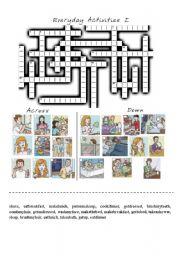 English Worksheet: everyday activities I crossword
