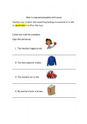 English Worksheets: How to express possession with nouns.