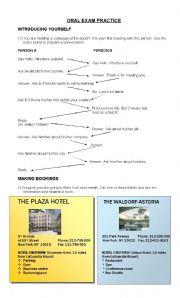 English Worksheet: ORAL EXAM PRACTICE