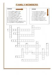English Worksheet: FAMILY MEMBERS CROSSWORD