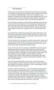 English Worksheet: Holocaust