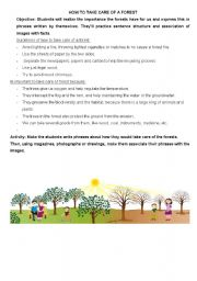 English worksheet: How to take care of a forest