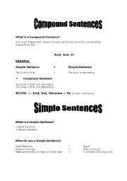 English Worksheet: Compound And Simple Sentences