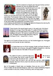 English Worksheet: Text about Canada