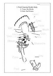 English Worksheets: Body Parts Drawing and Coloring Worksheet