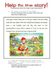 Fix The Story - Punctuation Exercise using Little Red Riding Hood