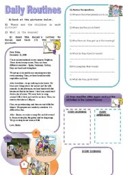 English Worksheets: daily routines