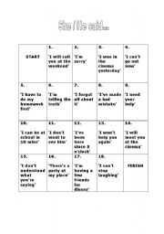 English Worksheet: reported speech board game B&W