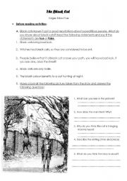 English Worksheets: The Black cat pre-reading activity