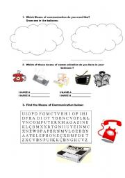 English teaching worksheets: Means of communication