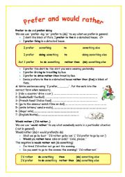 English Worksheet: prefer and would rather