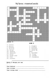 English Worksheet: The house (Fr En) Crosswords + other exercices