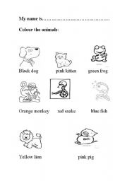English Worksheets: animals in primary