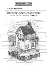 English Worksheets House Voc B W