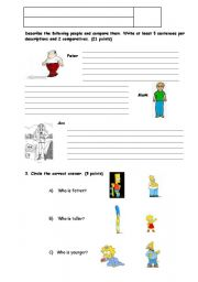 English worksheet: Descriptions and comparatives