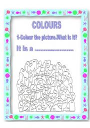 English Worksheets: COLOURING AND FINDING HIDDEN ANIMAL