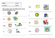 English worksheet: Test routines and free time activities + the time
