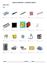 English Worksheet: Classroom objects and indefinite article