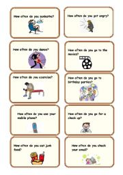 English Worksheet: How Often ( conversation cards)