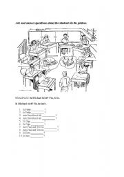 English Worksheets: Ask and answer questions about the students in the picture.