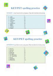 KET/PET spelling practice