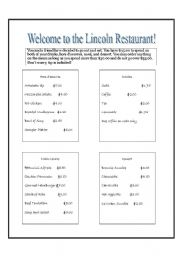 English worksheets: Ordering off a menuEnglish worksheet: Ordering off a menu