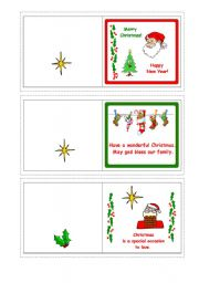 English Worksheet: Christmas cards with messages 2-5