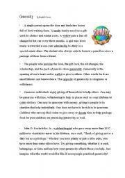 English Worksheets: Generosity