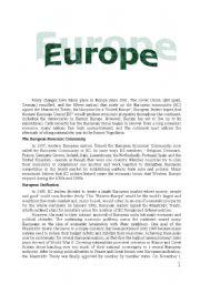 English Worksheet: Europe