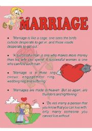 English Worksheet: Marriage quotations