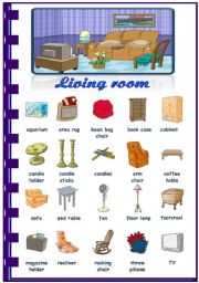 English Worksheet: Rooms in the house- Living room