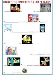 English Worksheet: MICKEY MOUSE GOES ON HOLIDAY...HELP HIM COME TO A GOOD END WITH THE HELP OF IMAGES