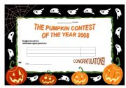 English Worksheets: certificate to Hallowe�en contest