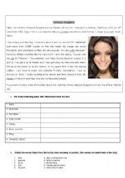 English Worksheets: meet Vanessa Hudgens from HIGH SCHOOL MUSICAL - reading tasks