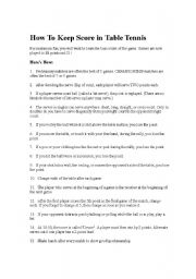 English Worksheet: How To Keep Score in Table Tennis