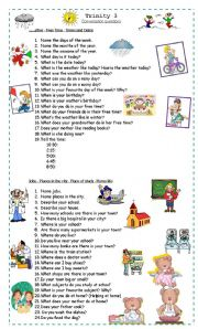 English Worksheet: Conversation Questions for Trinity Level 3